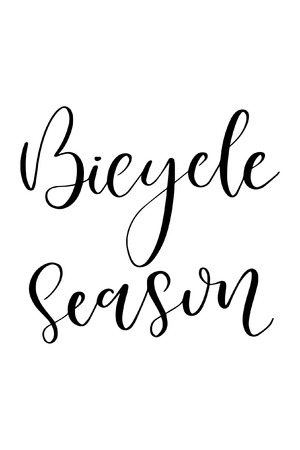 Hand drawn word. Brush pen lettering with phrase Bicycle season.