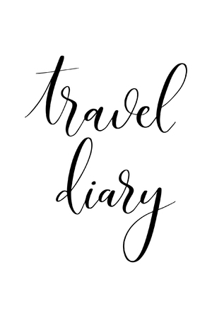 Hand drawn word. Brush pen lettering with phrase Travel diary.