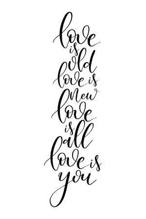 Hand drawn word. Brush pen lettering with phrase Love is old, love is new, love is all, love is you.