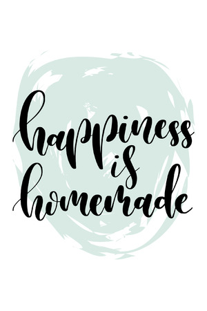 Hand drawn word. Brush pen lettering with phrase Happiness is homemade.