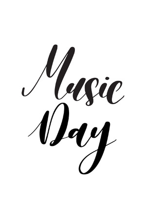 Hand drawn word. Brush pen lettering with phrase Music day. Stockfoto - 121968959