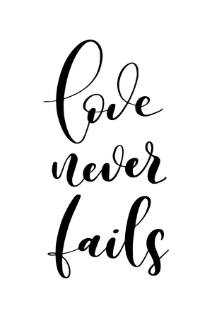 Hand drawn word. Brush pen lettering with phrase Love never fails. Illusztráció