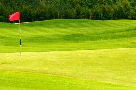 pallina da golf sul green vicino al buco con bandiera rossa