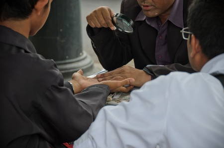 thai traditional hand fortune telling photo