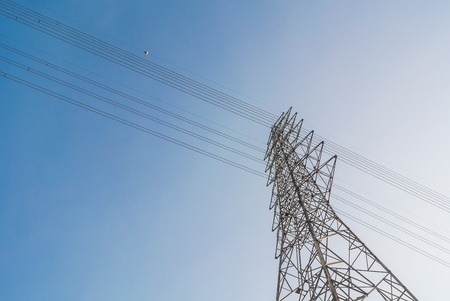 high voltage pole and wire up to sky Stock Photo - 13149817