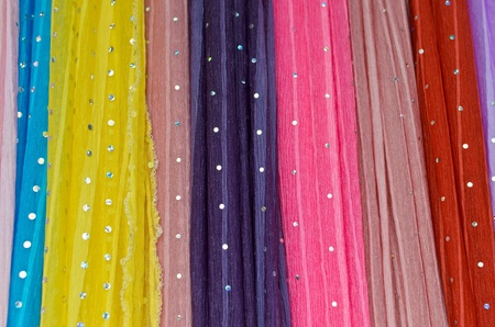 colorful fabric with sparkling dot pattern photo