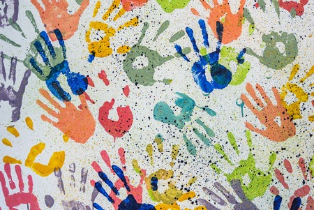 colorful random hand print on white background