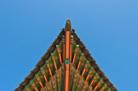 ancient korean style end roof decorative ornament photo