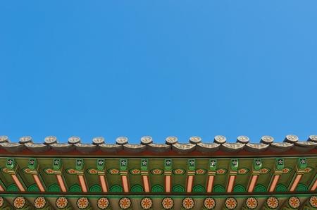 antico stile coreano sotto tetto ornamento decorativo Archivio Fotografico
