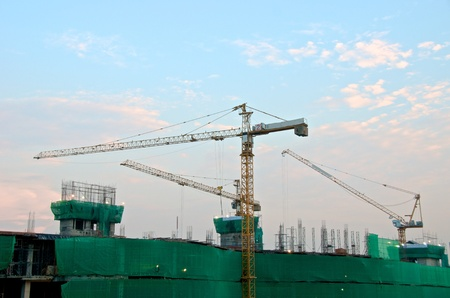building construction with metal crane Editorial
