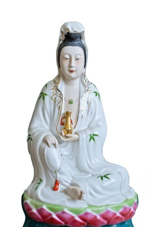 guan yin statue in white background