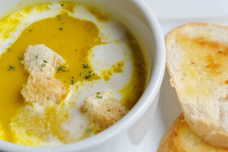 pumpkin soup with toast bread