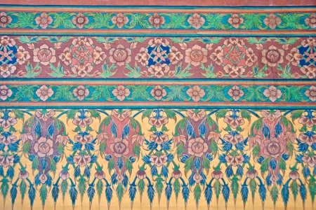 ancient thai flower mural pattern painting Stock Photo