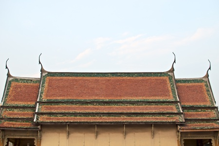thai temple roof in blue sky Stock Photo