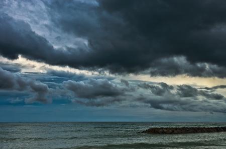 rain cloud over the sea