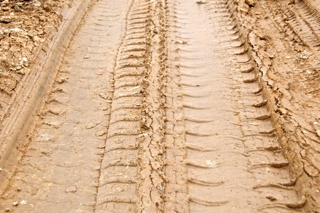tire track on muddy road photo