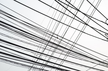 untidy electrical wire in sky Stock Photo - 16654302