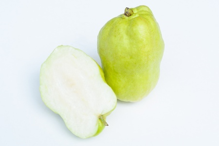 tropical green guava with half cut in white background