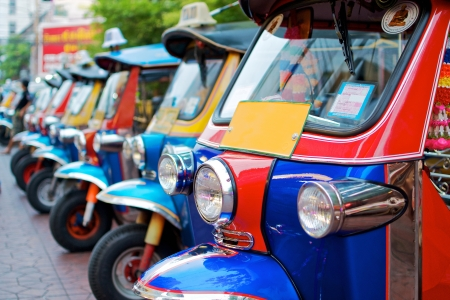 thailand native taxi call  tuk-tuk  park in row
