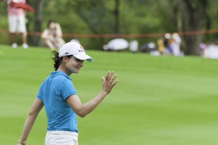PATTAYA THAILAND-FEBRUARY 21-Lorena Ochoa of Mexico waved to fan in Final Round of Honda LPGA Thailand 2010 between February 18 - 21 at Siam Country Club Old Course in Pattaya, Thailand