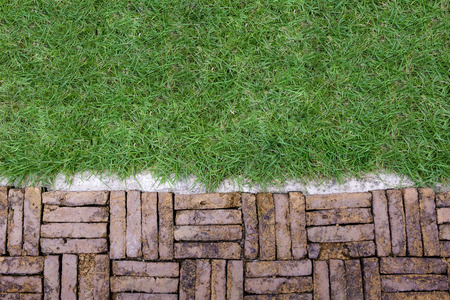 old rough terracotta brick path pattern with cement edge and green grass