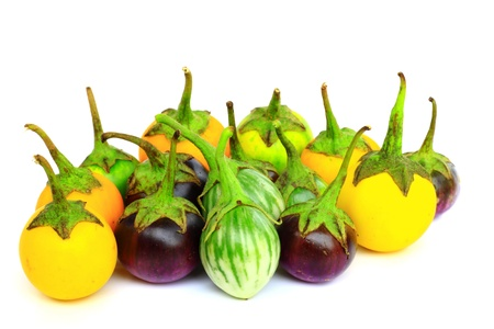 Many eggplant group isolated Stock Photo