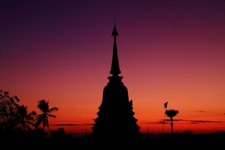 Silhouette pagoda , Thailand photo
