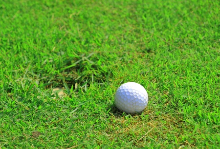 Golf ball on green grass and hole