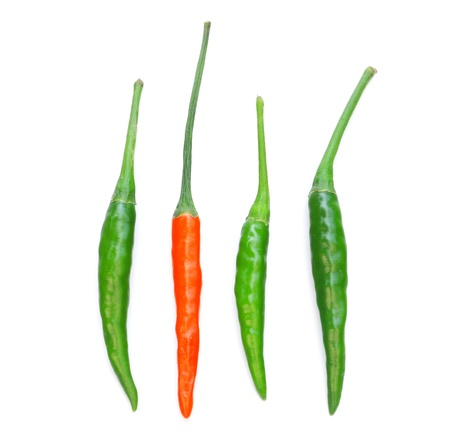 green peppers: Red and green chili peppers isolated