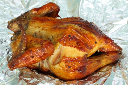 Roasting chicken on the foil paper