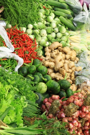 Fresh vegetables in market , Asia, Thailand photo