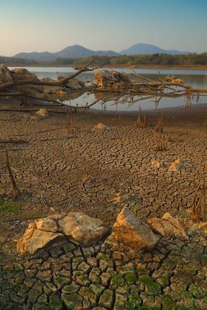 Cracked ground , Mae jang Dam , Lampang ,Thailand