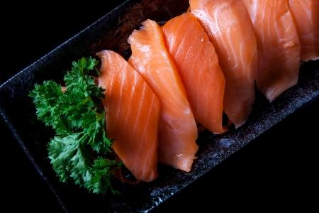 viandes et substituts: Sashimi de saumon.
