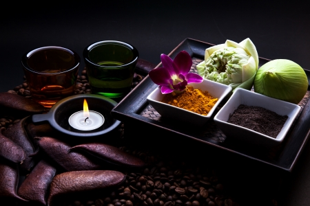 Coffee and Turmeric Scrub for beauty treatment in spa. Reklamní fotografie