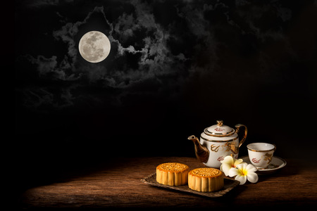 Chinese Mooncake for the Lunar Harvest Festival Stock Photo