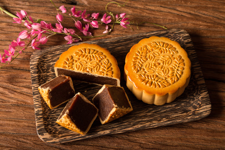 sweet food: Chinese Mooncake for the Lunar Harvest Festival.