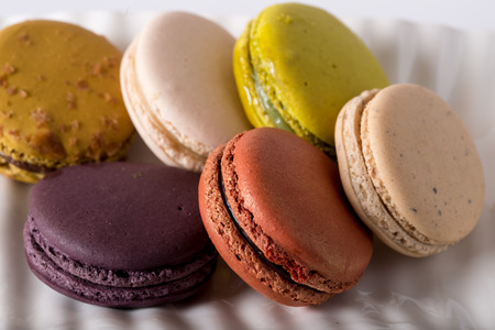 Colorful macaroons, the most coveted cookie in France. Stock Photo