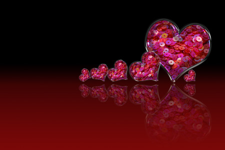 lambent: Pink Sequin in the heart shape glass.