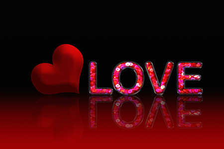 lambent: Pink Sequin in text LOVE Stock Photo