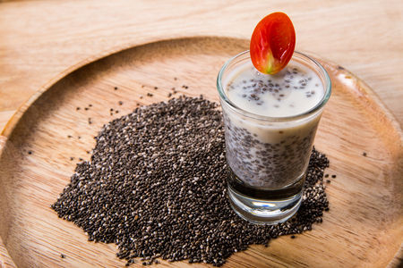 healty: Chia seed, organic food for healty eating.