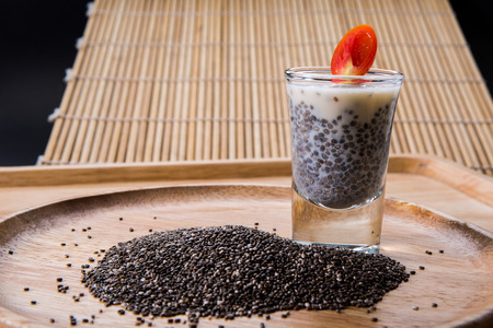 healty: Chia seed, organic food for healty eating.