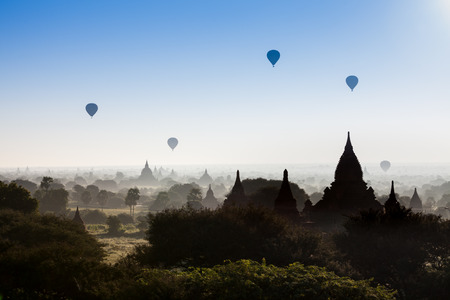 bagan: Balloon over pagodas in Bagan, Myanmar.