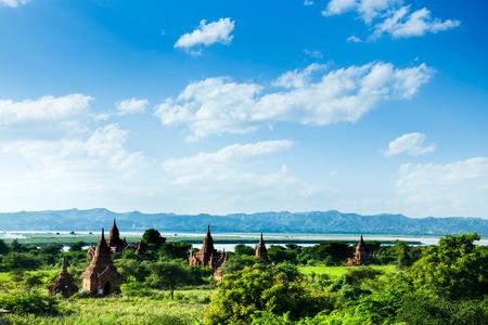 stupas: Stupas and pagodas in Bagan ancient city. Myanmar