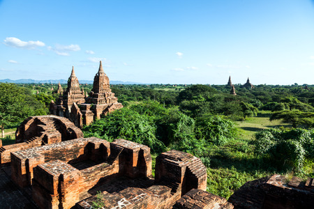 tabernacle: Stupas and pagodas in Bagan ancient city. Myanmar