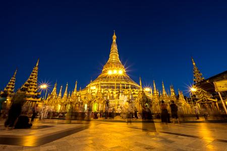 Shwedagon golden pagoda at night.