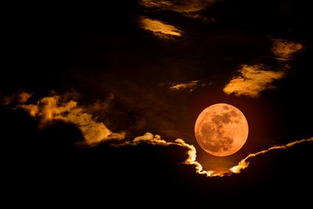 The big full moon on clear sky night.