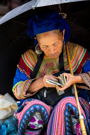 Lao Cai, Vietnam - June 1, 2514:  The ethnic Hmong woman with beautiful fully dress at local sunday market on June 1, 2514 in Bac Ha, northern Vietnam.