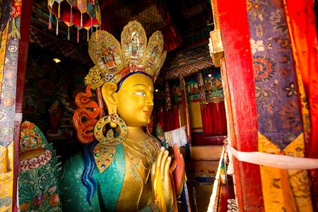 Leh, Ladakh, India - August 6, 2016: The Statue of Maitreya  or Future Buddha in Thiksey Monastery.