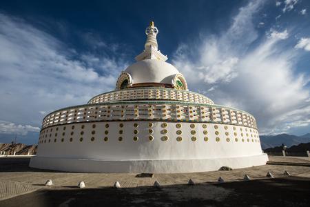 Shanti stupa, Buddhist temple in Leh, India.
