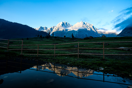 The view of countryside with little village in  Sonamarg, Jammu and Kashmir state, India. Stock Photo